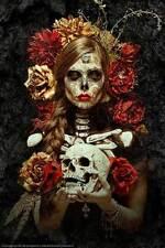 Sugar Skull Model Flowers Of Death 24 x 36 Poster