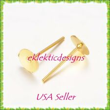 40pcs 6mm Gold Plated Flat Back Stud Posts w/Bks Earrings Jewelry Findings 20prs