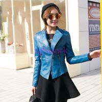 Korean Women's Stand Collar Slim Motorcycle Biker PU Leather Coats Short Jackets