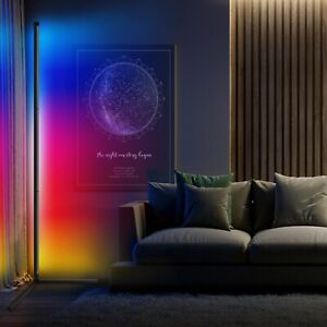RGB Colour Changing LED Corner Floor Lamp Minimalist Mood Light 140cm Tall
