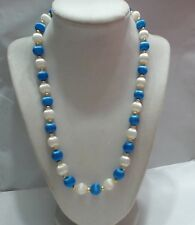 """Vintage Blue & White Silk Covered Necklace, 20"""""""