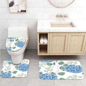 Blue Flower Clusters and Plant Leaves Toilet Cover Rug Mat Contour Rug Set 3pcs