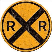 Railroad Crossing round fridge magnet      (de)