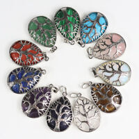 Natural Gemstones Teardrop Tree of Life Reiki Chakra Silver Pendant for Necklace