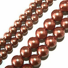 MAGNETIC HEMATITE BEADS PEARLIZED COPPER COLOR 4MM BEAD STRANDS P17