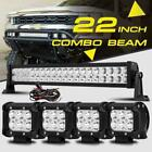 """22"""" 280W  LED WORK LIGHT BAR +4"""" 18W SPOT&FLOOD COMBO 4X4WD FOR JEEP FORD"""