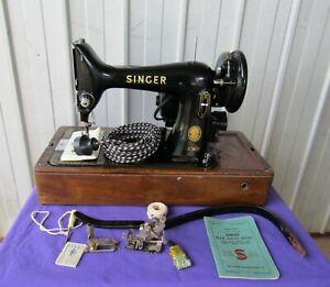 SINGER SEWING MACHINE 99K KNEE LEVER CASE 1955 VINTAGE