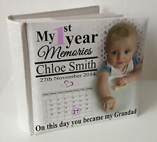 "Personalised white photo album, 100 x 6x4"" photos,baby 1st year memory Grandad"