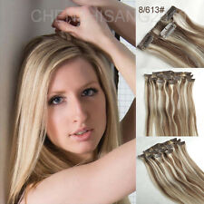 "15""-20"" Straight Clips in Remy Real 100% Handmade Human Hair Extension 7Pcs/Set"
