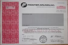 Specimen Stock Certificate: 'Frontier Airlines, Inc.'- Aviation Air Line/Airline