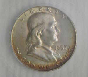 1957 D Franklin Silver Half Dollar, ICG MS64+ FBL  REALLY NICE!!!