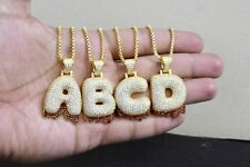 Custom Bubble Letter A-Z Dripping Initial Pendant Sterling Silver Lab Diamonds