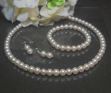 Perlen Schmuck Set  Kette Armband Ohrringe creme  Ohrhaken 925er Silber