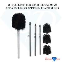 3x Pack Toilet Brush Heads & Handles Stainless Steel Chrome Replacement Cleaning