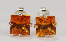 BEENJEWELED GENUINE MINED PRINCESS CITRINE EARRINGS~STERLING SILVER~6MM
