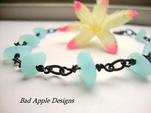 Frosted Pebble Sea Glass Black Gunmetal Chain Link Bracelet Beach Sky Blue