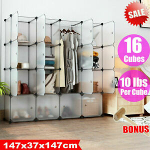 DIY 16 Cube Closet Wardrobe Modular Storage Organizer Cupboard Furniture Plastic
