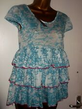 GORGEOUS SKY BLUE & WHITE MOTTLED RARA STYLE LAYERED VEST TOP SOUTH NEW TAGS 8