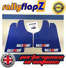 Rally Mud Flaps Kit  MITSUBISHI L200 (05>) Blue 4mm PVC Ralliart Logo White R&O