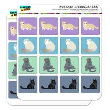 Pastel Cats Munchkin Ragdoll Planner Scrapbook Square Stickers