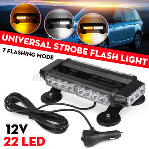 Yellow White Mix 22 LED Strobe Light Bar Rooftop Double Side Emergency Warning