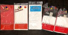 """5 Plastic TABLE COVER Tablecover Rectangle White Red - 54"""" x 108"""""""