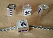 4 x Cancer Charm ~ Purple Ribbon Awareness ~ Silver Plated - Fits Bracelet