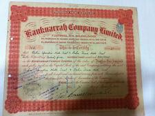 KANKNARRAH CO LTD PREF STOCK SCRIP SHARE CERTIFICATE BLUE EMBOSSED REVENUE 1924