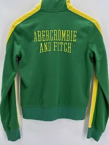 ABERCROMBIE FITCH Boys  Varsity Green & Yellow Zip Track Jacket size large