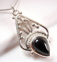Black Onyx Tribal Accents Style Pendant 925 Sterling Silver New