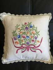 NEW HANDCRAFTED BEAUTIFUL EMBROIDERED BATTENBURG CUSHION COVER PILLOW CASE 16x16