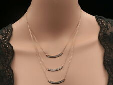 Lady 3 layer chain crystal smile design charms gold plated necklace jewelry S44