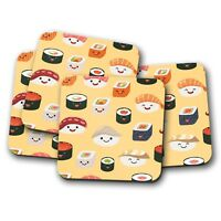 4 Set - Cool Sushi Cork Backed Drinks Coaster - Japanese Japan Travel Food #8358