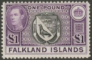 Falkland Islands 1938 KGVI £1 Black and Reddish Violet Mint SG163 cat £130+
