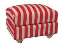 Red & White Cushioned Footstool, Dolls House Miniature Furniture 1.12 Scale