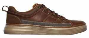 Mens Skechers Leather Memory Foam Casual Smart Walking Lace Deck Trainers Shoes