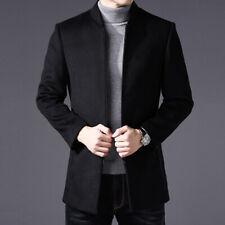 Coat Jacket Wool Blend Blazer Men Suits Casual Tuxedo Mandarin  Collar Zipper