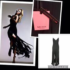 Kate Moss Topshop 14 /42/10 Black Fringe Tasseled Backless Dress New Very Rare!!