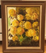 Vintage Van Gores Original Oil Painting On Canvas Wood Frame Floral 21x17 L.A,Ca