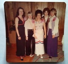Vintage 70s Photo 5 Women Wearing Corsages & Dresses Attending Gala Dinner Party