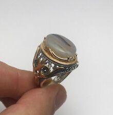 Turkish Seljuq Luxury Yemeni Aqeeq Agate Yamani 925K Sterling Silver Men's Ring
