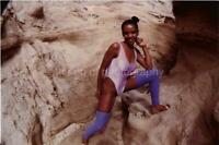 FOUND PHOTO Girl On The Rocks YOUNG AMERICAN WOMAN Original Snapshot 01 16 P
