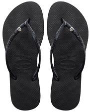 Havaianas Slim Black Ladies Vegan Friendly Flip Flops Various Sizes 8 UK