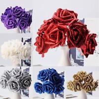 10Pcs Foam Glitter Artificial Rose Flowers Bouquet Bride Wedding Party Decor New