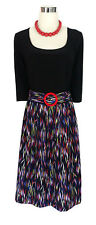 LEONA EDMISTON Dress - Retro Geometric Black Red Blue Pink White 3/4 Belt XS/8