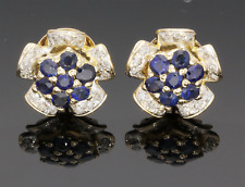 18CT YELLOW GOLD SAPPHIRE & DIAMOND CLUSTER EARRINGS
