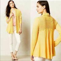 Anthropologie Angel of the North Open Cardigan Sweater Visionary Yellow Small