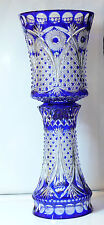 H64 cm Decorative Cased Crystal VASE, BLUE Cut to clear Overlay RUSSIA New