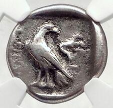 ITANOS Crete 330BC Authentic Ancient Greek Silver Coin w ATHENA EAGLE NGC i72406