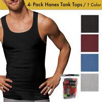 Hanes Men's 4 Pack Tagless Comfortsoft Cotton Ribbed Tank Top